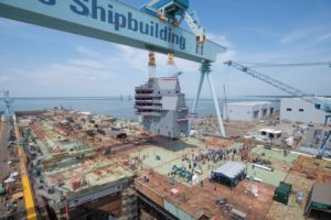 Huntington Ingalls Industries landed the island on to the flight deck of the future aircraft carrier John F. Kennedy (CVN-79) during a ceremony at the company's Newport News Shipbuilding division on May 29, 2019. (Photo: HII)