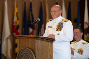 Chief of Naval Operations (CNO) Adm. Mike Gilday delivers his first remarks as the 32nd CNO during a change of office ceremony held at the Washington Navy Yard. Gilday. (Photo: U.S. Navy)