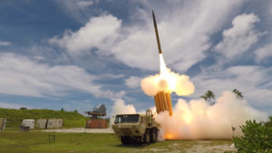 A THAAD system successfully launches and intercepts a medium-range target using a remote launcher kit in Flight Test THAAD (FTT)-23 at the Kwajalein Atoll in the Republic of the Marshall Islands (Photo: Missile Defense Agency)