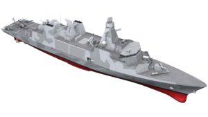 Graphic design of the Arrowhead 140 Type 31e Frigate. (Artist design: UK Royal Navy)
