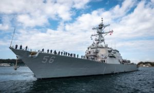 The guided-missile destroyer USS John S. McCain (DDG-56) departs Fleet Activities Yokosuka to conduct comprehensive at-sea testing for the first time since a deadly collision with a commercial craft in 2017. (Photo: U.S. Navy)