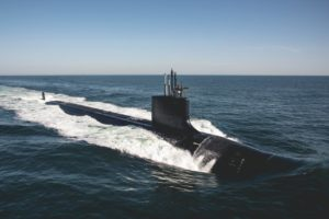 The Virginia-class submarine future USS Delaware (SSN-791) at sea for sea trials in the Atlantic Ocean on Aug, 31, 2019. (Photo: U.S. Navy)