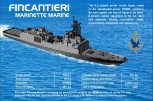 Fincantieri Marinette Marine's offering for the U.S. Navy's FFG(X) Future Frigate program, based on the FREMM frigate built for the French and Italian navies. (Graphic: Fincantieri Marinette Marine)
