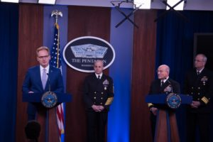 Acting Secretary of the Navy, Thomas Modly and Adm. Mike Gilday, Chief of Naval Operation host a press briefing to discuss Navy support during the COVID-19 response at the Pentagon Briefing Room on March 24, 2020. (Photo: DoD)