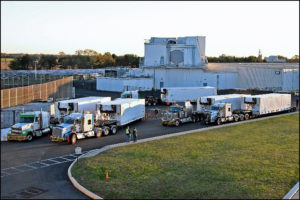 Trucks transporting Long Range Discrimination Radar panels to Clear Air Force Station prepare to leave Lockheed Martin's Moorestown, N.J., facility. (Photo: Lockheed Martin)