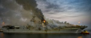 A fire continues to be fought into the evening on board USS Bonhomme Richard (LHD-6) at Naval Base San Diego, July 12. (Photo: U.S. Navy)