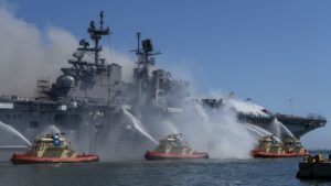 Port of San Diego Harbor Police Department boats combat a fire on board USS Bonhomme Richard (LHD-6) at Naval Base San Diego, July 12. (Photo: U.S. Navy)