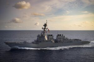 The Arleigh Burke-class guided-missile destroyer USS Preble (DDG-88) transits the Indian Ocean in March 2018 while underway with the Theodore Roosevelt Carrier Strike Group for a regularly scheduled deployment in the U.S. 7th Fleet area of operations. (Photo: U.S. Navy)